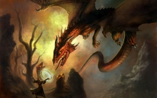 Painting of dragon attacking wizard.