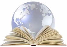 Graphic of globe and book.