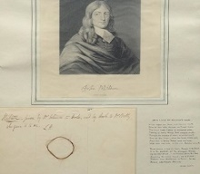 Image of John Milton with a lock of his hair.