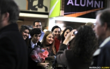 Photo of new graduates having their picture taken.
