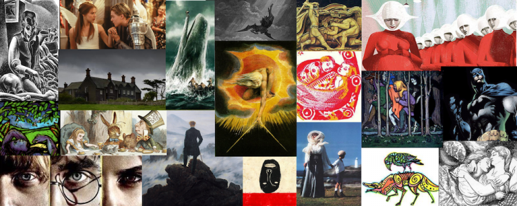 Collage of images related to literature.