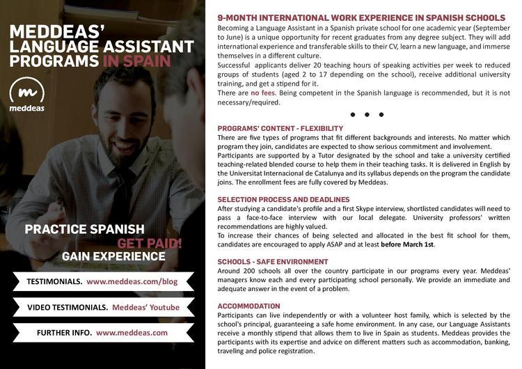 Meddeas' Language Assistant Programs in Spain