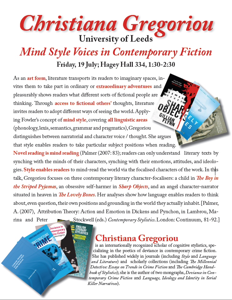 Poster for Christiana Gregoriou's talk re: Mind Style Voices in Contemporary Fiction