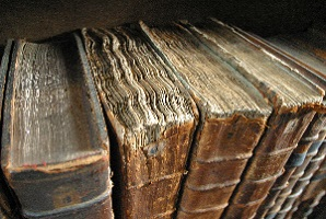 Image of old book bindings.