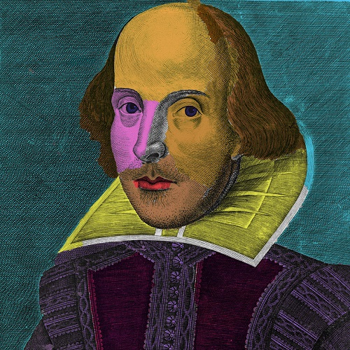 Colourized picture of William Shakespeare by Andy Warhol.