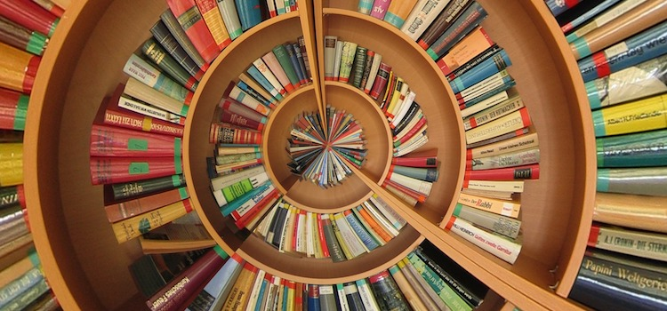 Picture of circular bookshelf.