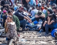 Photo of a group of refugees.