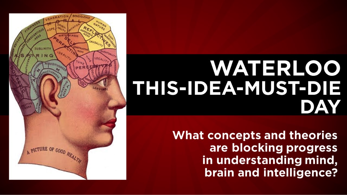 Poster for This Idea Must Die Day with profile picture of person showing the brain.