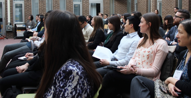 Diverse student audience listening to presentation