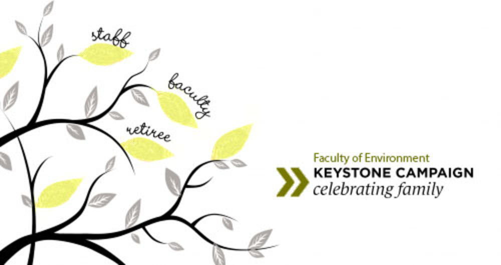 """Graphic Titled """"Faculty of Environment Keystone Campaign, celebrating family."""" Drawing of a tree in which the words """"staff, faculty and retiree"""" are written on three of the leaves."""