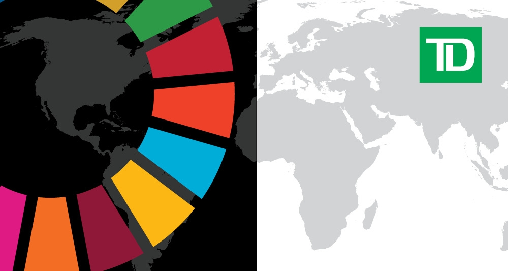 Sustainable goals wheel superimposed over greyscale map of the world