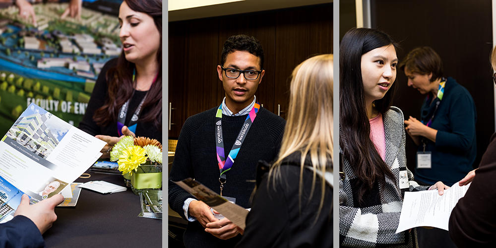 Three photos from a previous Grad Open House, students asking questions
