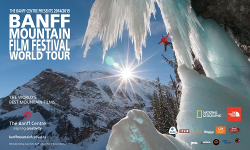 Banff Mountain Film Festival world tour poster with ice climber on side of mountain
