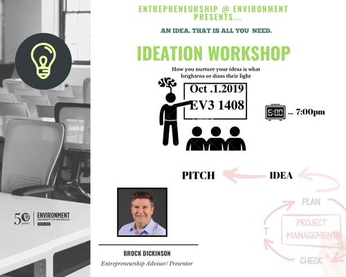 Poster of Ideation Workshop EV3 1408 5-7 PM , October 1st 2019, How you nurture your ideas is what brightens or dims their light,  Brock Dickinson Entrepreneur in Residence