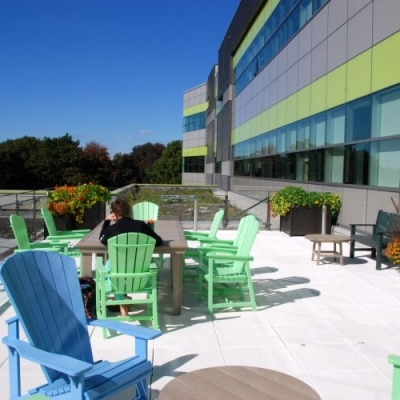 A rooftop patio with colourful Muskoka chairs, plants in the background and a blue sky overhead.