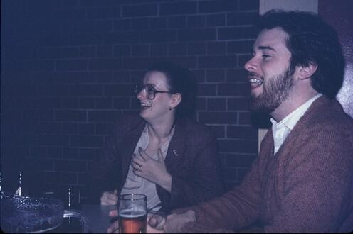 Cathrine Spears and Leith Moore laughing