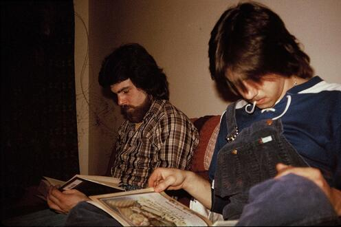 Richard Green and Carl Brawley reading books together
