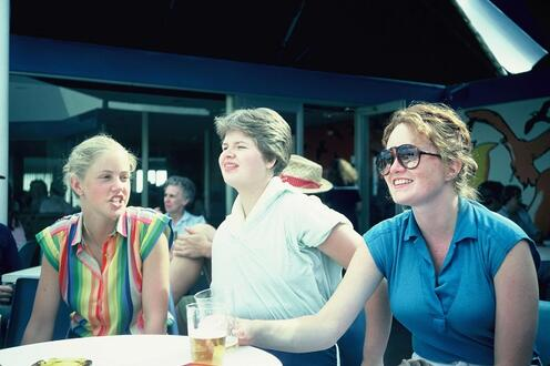 Maureen (Dunningan) Black, Louise Ann (Smyth) Riddell, and Lee Anne Doyle sitting at a table together.