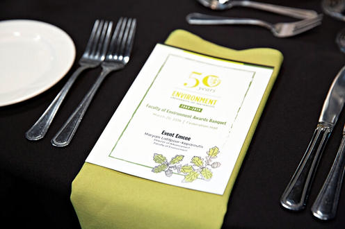 The menu on the tablecloth