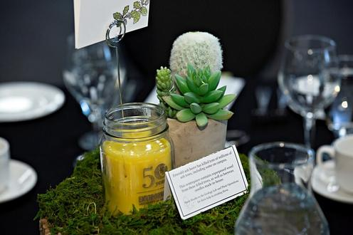A candle as the centrepiece on the table
