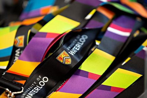 colourful lanyards on a table