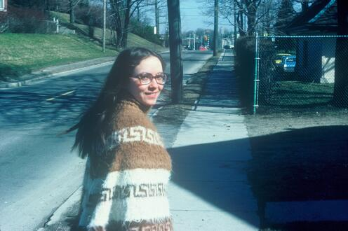 Woman in poncho in 1970s