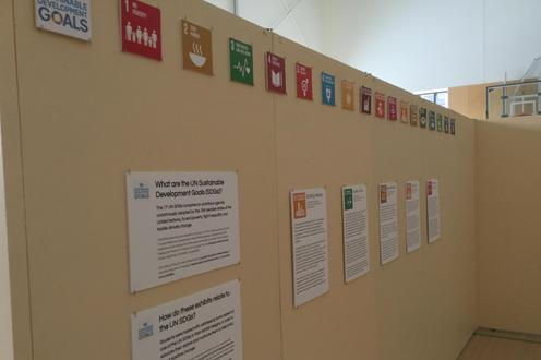 Sustainable Development Goals (SDG) signs along the entrance wall of the exhibits