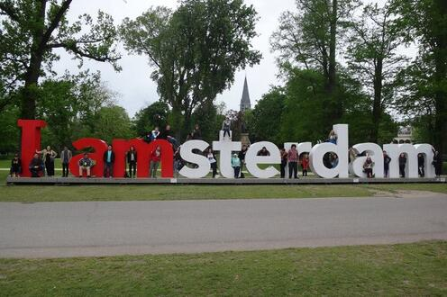 Standing in front of the I Amsterdam