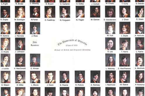 Compilation of graduate headshots from the planning class of 1981.