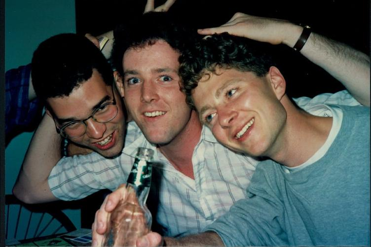 Three planning alumni having fun at a party (~1990)