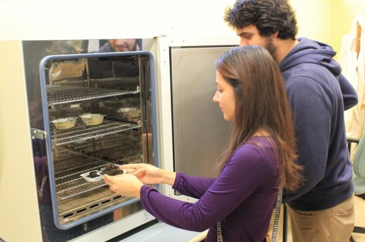 Student placing small dish of soil into an oven