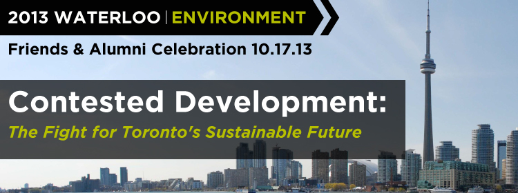 2013 Alumni & Friends event banner: Contested Development