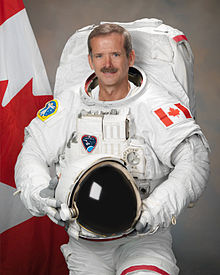 Christ Hadfield in a Space Suit