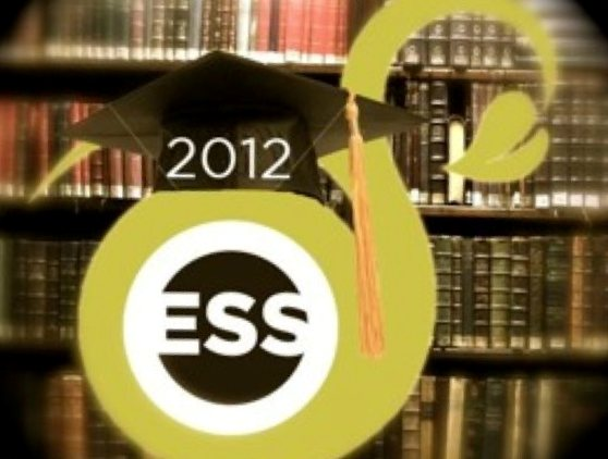 ESS logo topped with graduation cap reading 2012, in front of bookcase