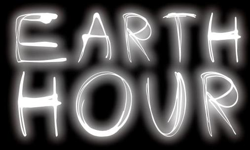 "Logo reading ""Earth Hour"" on black background."