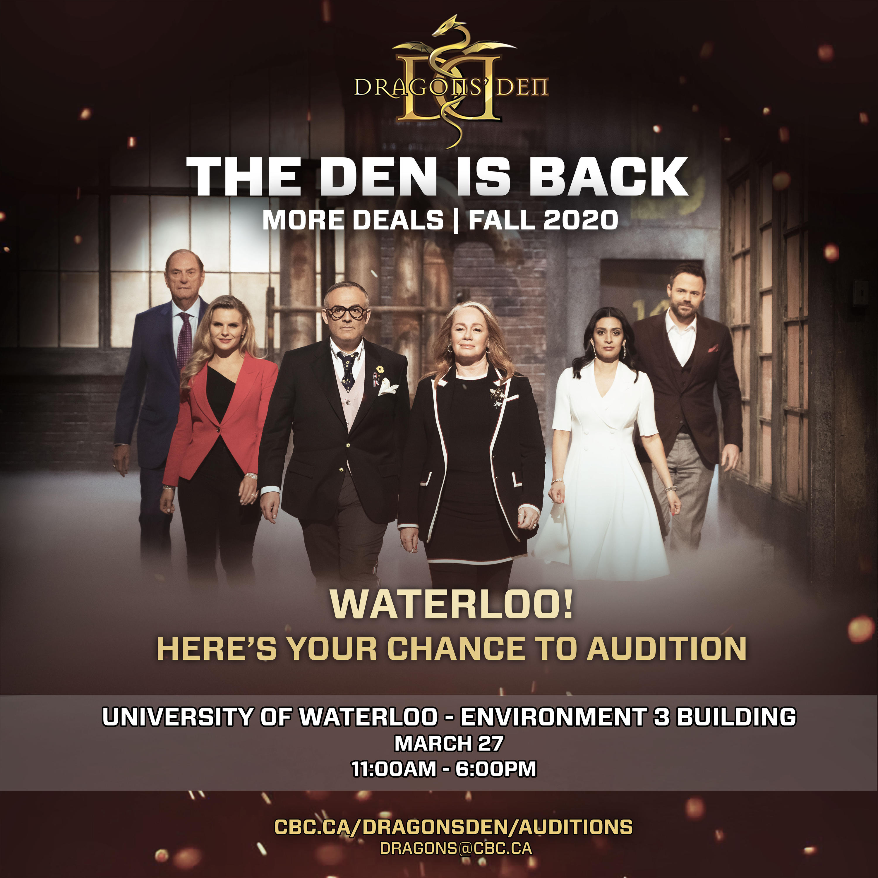 Dragons' Den audition poster with info