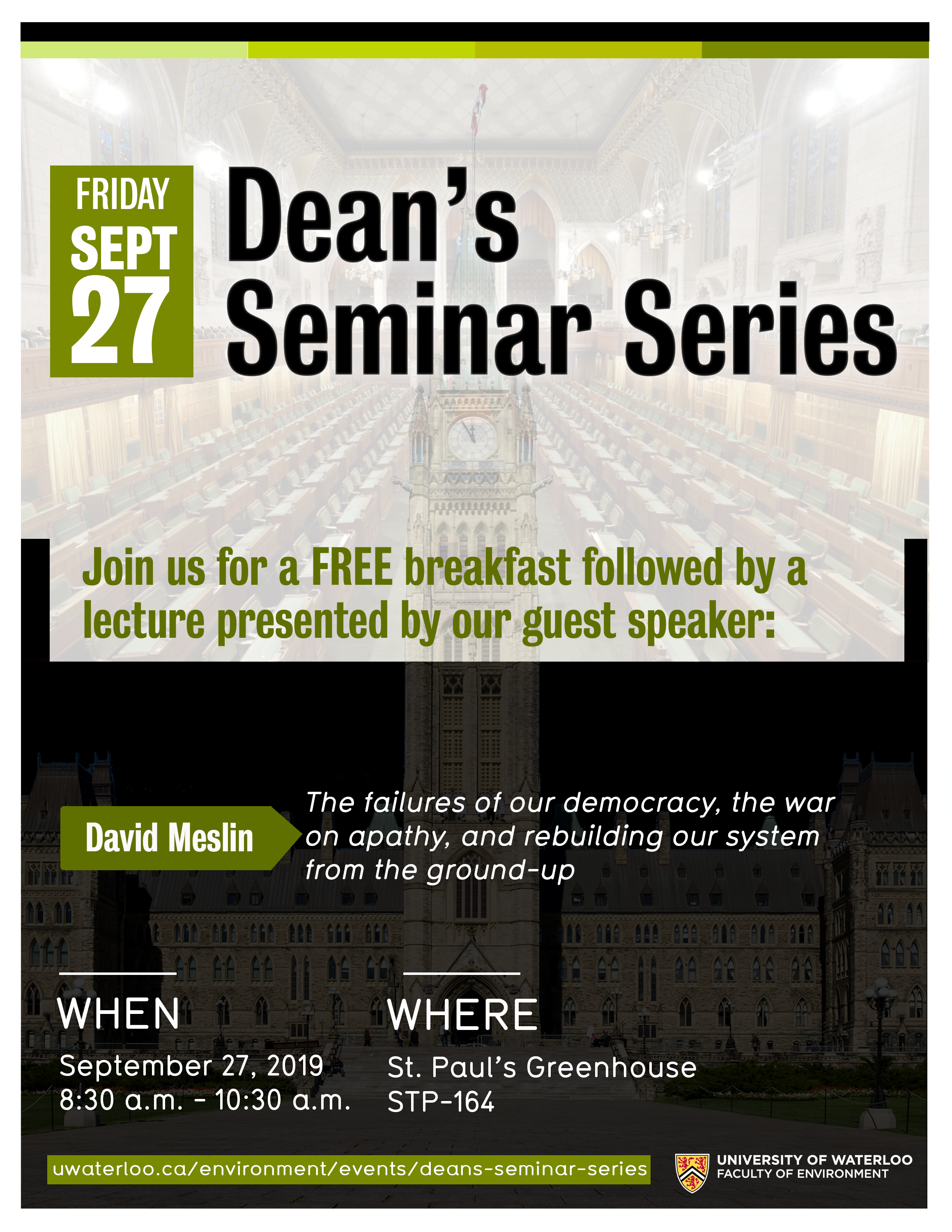 Poster with information about dean's seminar series