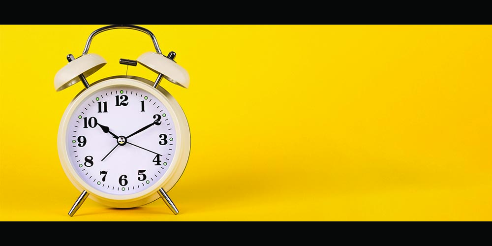 Clock with yellow background