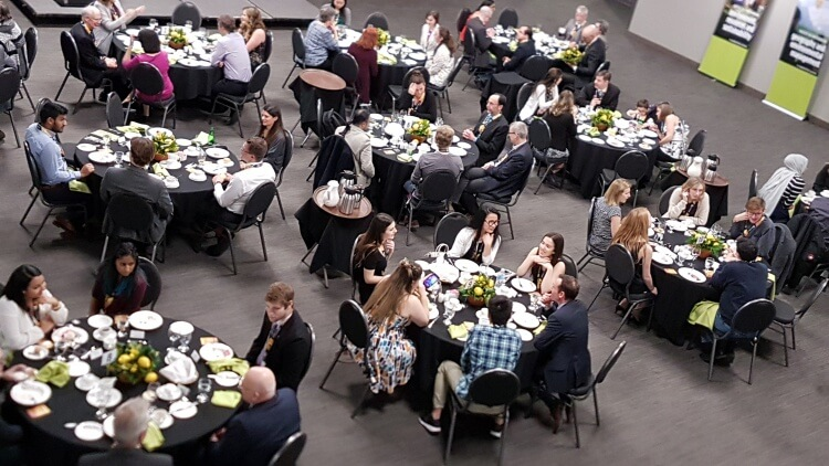 A full dining room of people, from above