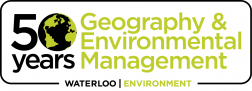 "Logo reading ""50 years - Geography & Environmental Management."""