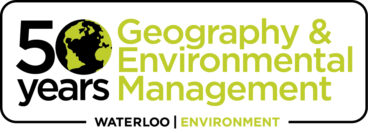 "Logo reading ""50 years - Geography & Environmental Management"""