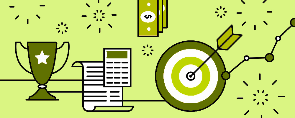 Green graphic with trophy, bulls-eye and calculator