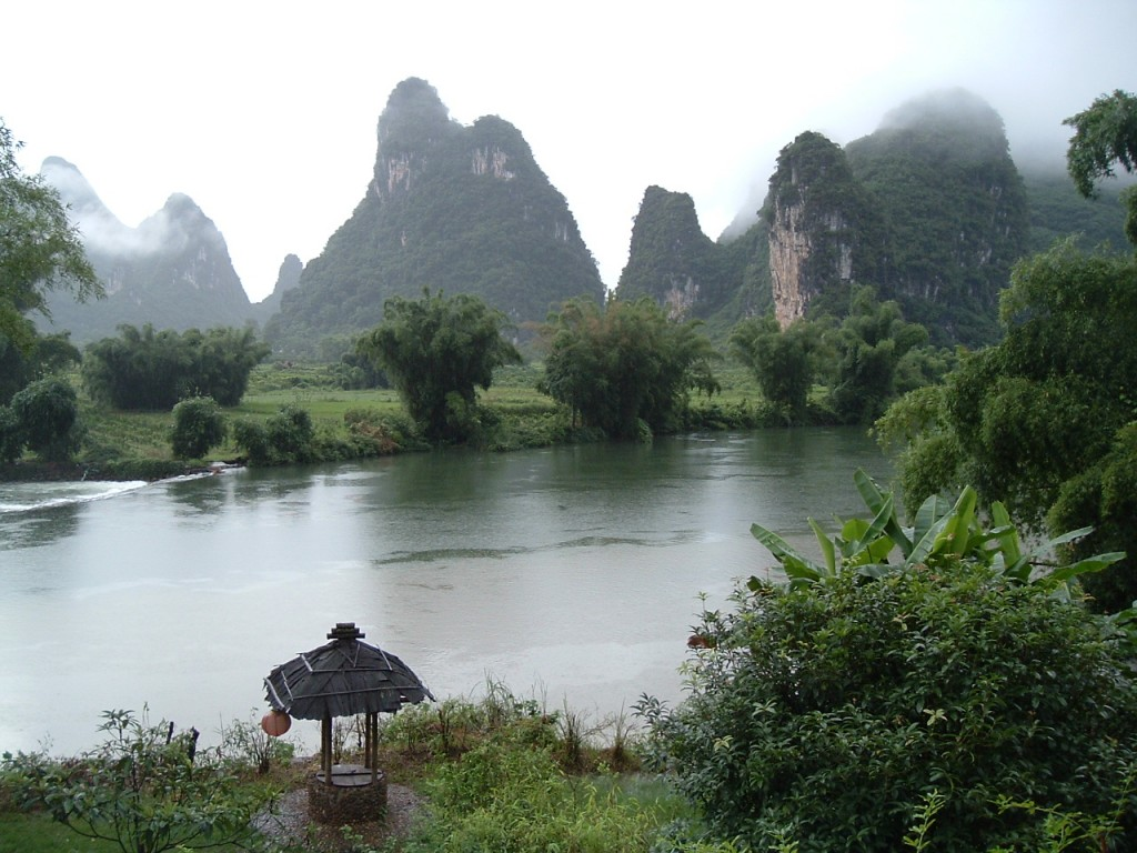 Karst rock formations next to a body of water