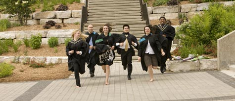 Grads running with joy