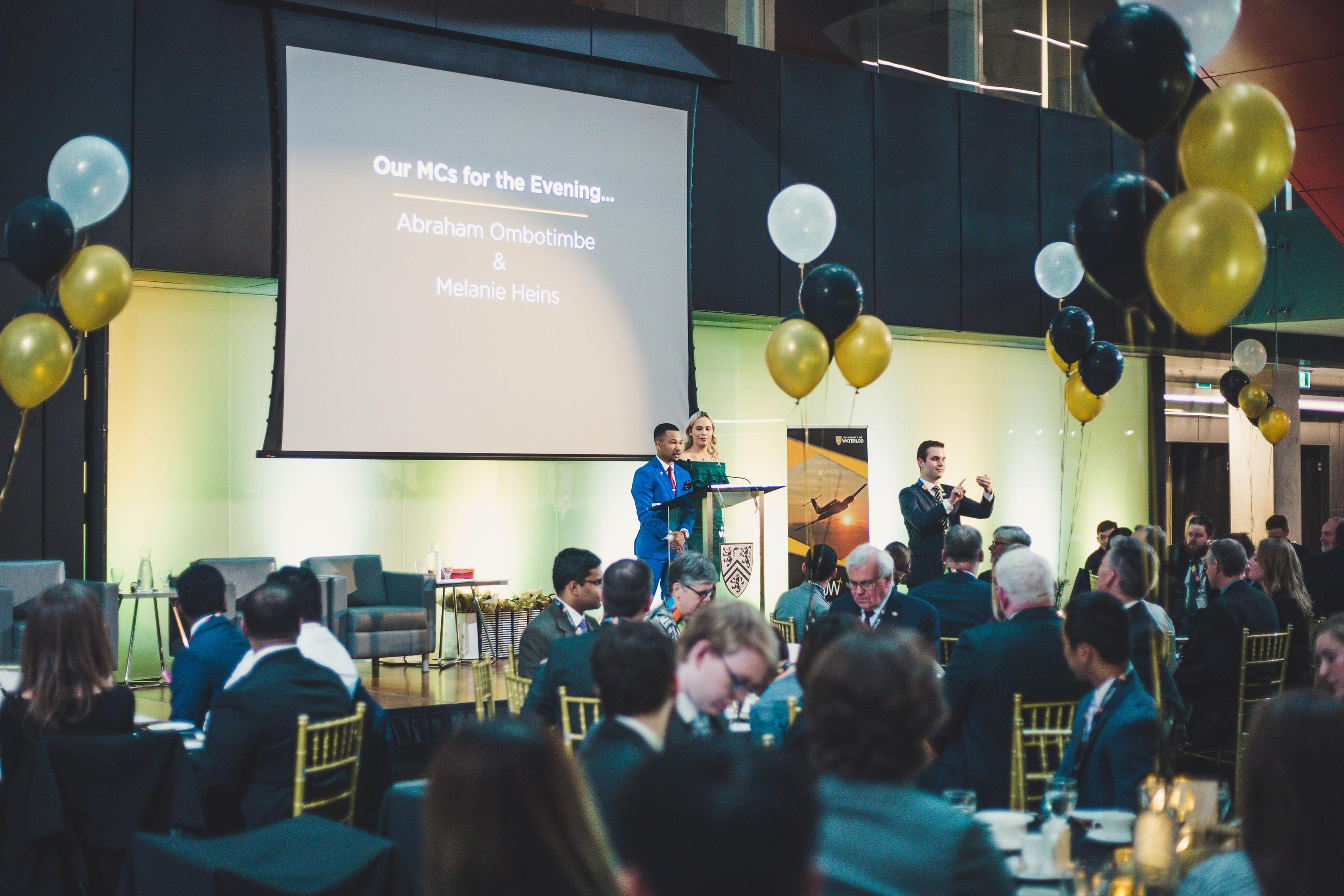 Students presenting on stage at the Inaugural Aviation Gala