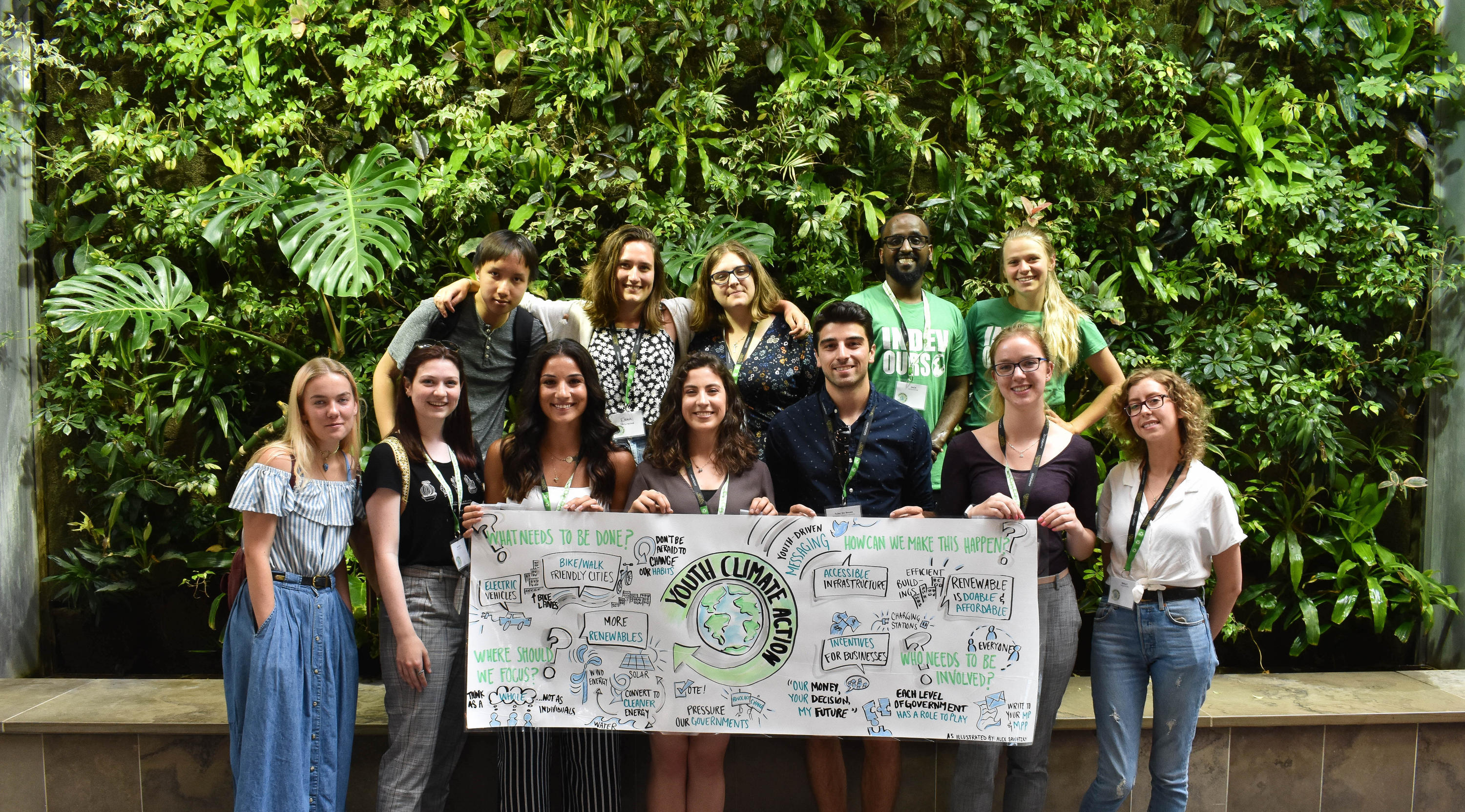 Youth Action on Climate Change team posing for a photo with their banner