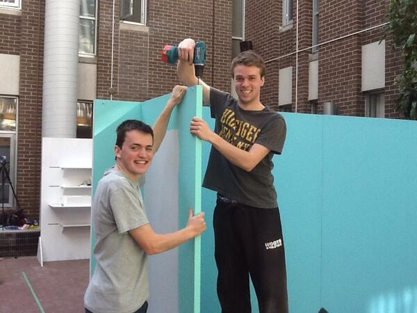 Students setting up an installation
