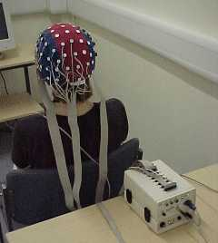 Participant with cap connected to EEG box