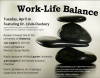 A poster for the work-life balance event with a tower of black stones as the background.
