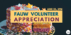 """Reads: """"FAUW volunteer appreciation"""", with cake in the background"""